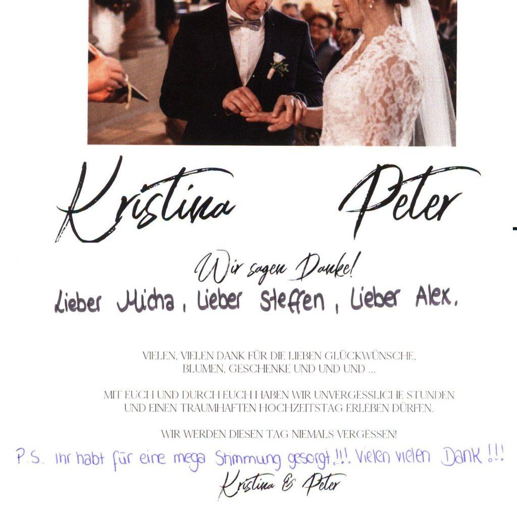 Dankeskarte an die Dreimannband von einem zufriedenem Brautpaar.